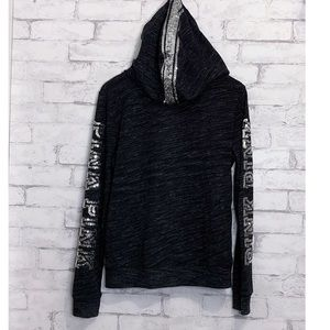 VS PINK Charcoal Gray 1/4 Zip Bling Hoodie Size M